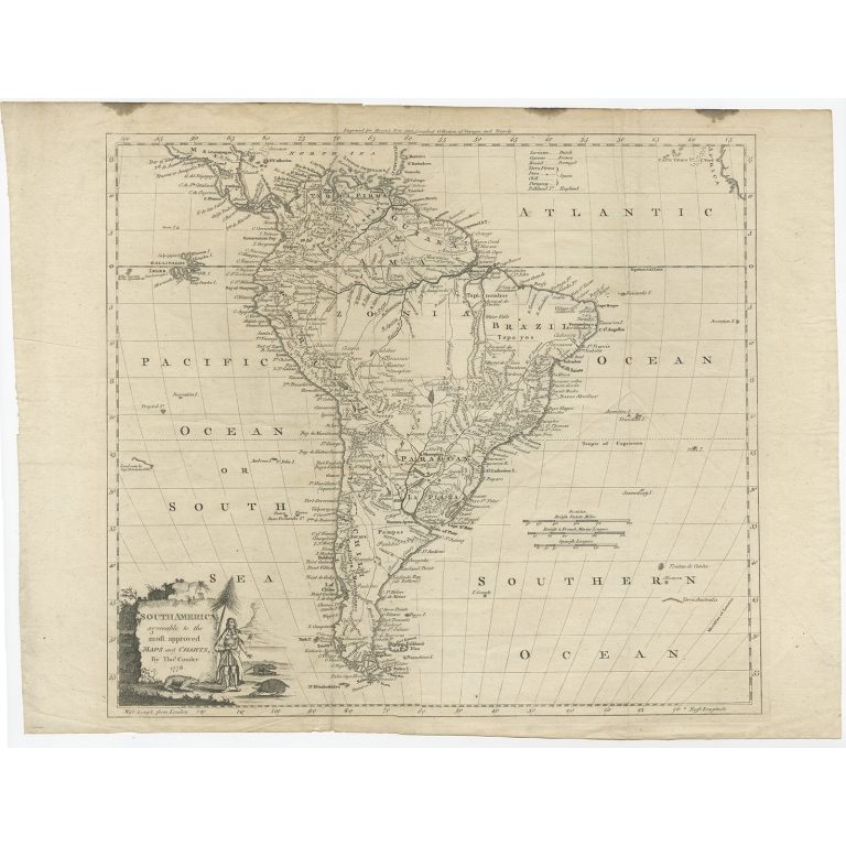 Antique Map of South America by Conder (c.1775)