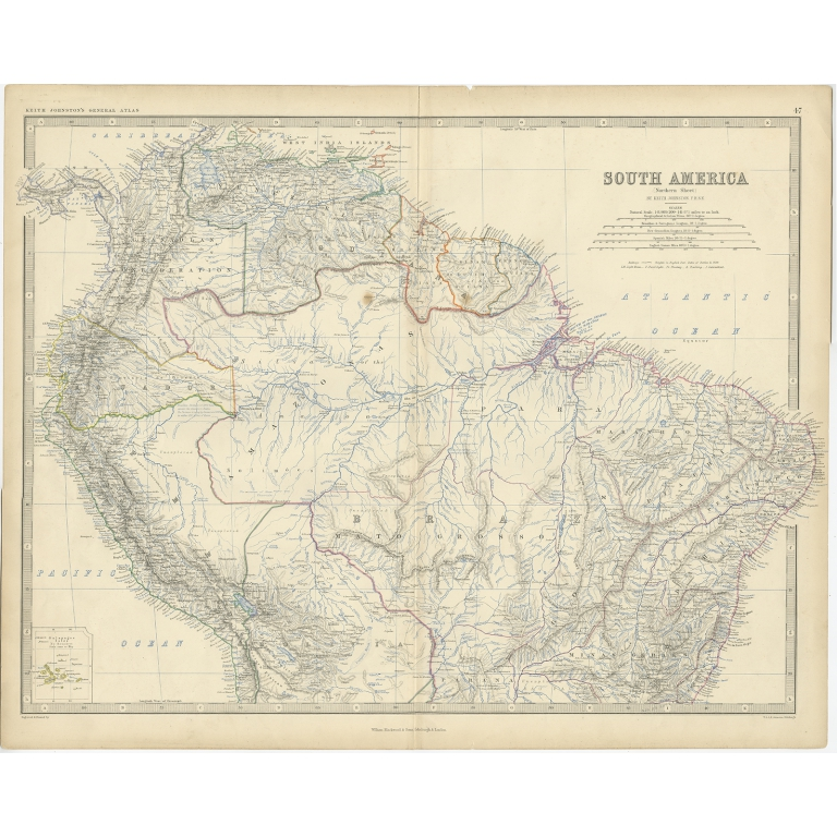 Antique Map of South America by Johnston (1861)