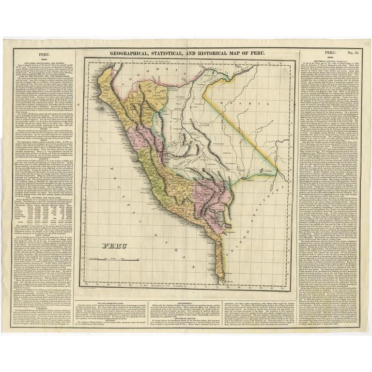 Antique Map of Peru by Carey (1822)