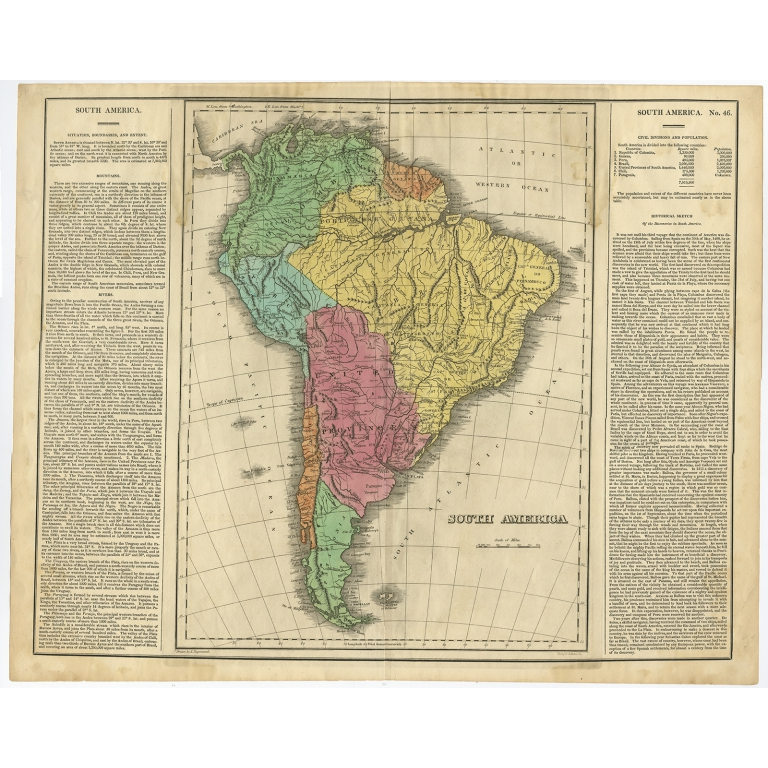 Antique Map of South America by Carey (1822)