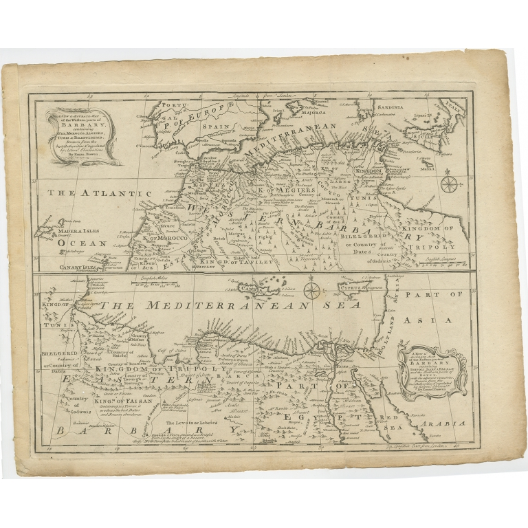 Antique Map of Western and Eastern Barbary by Bowen (c.1744)