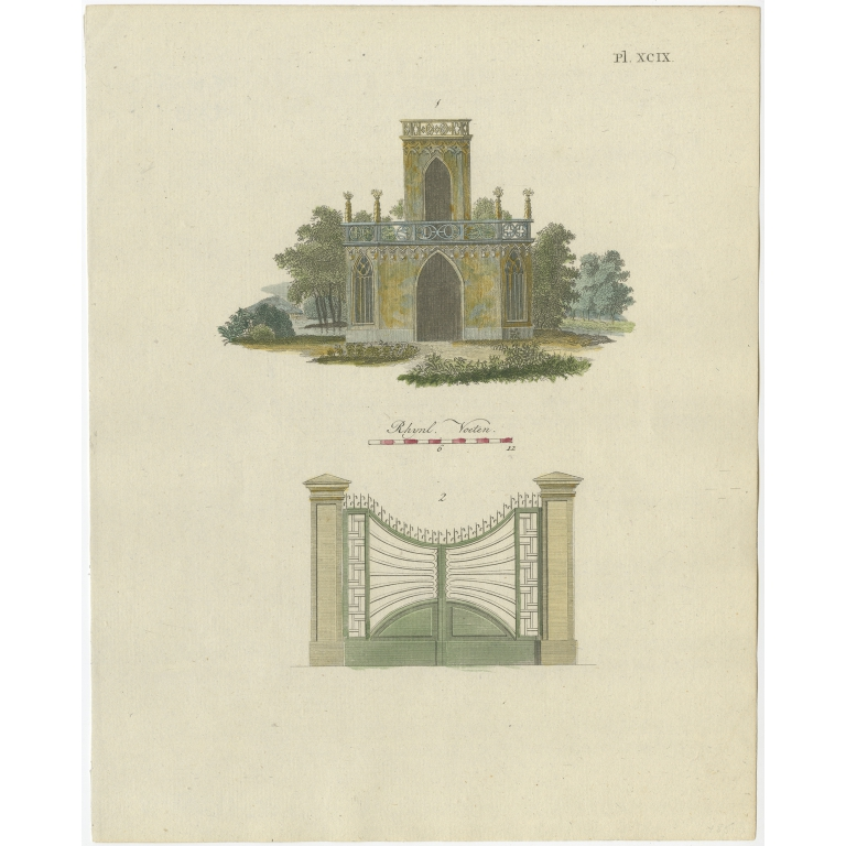 Pl. 99 Antique Print of Garden Architecture by Van Laar (1802)