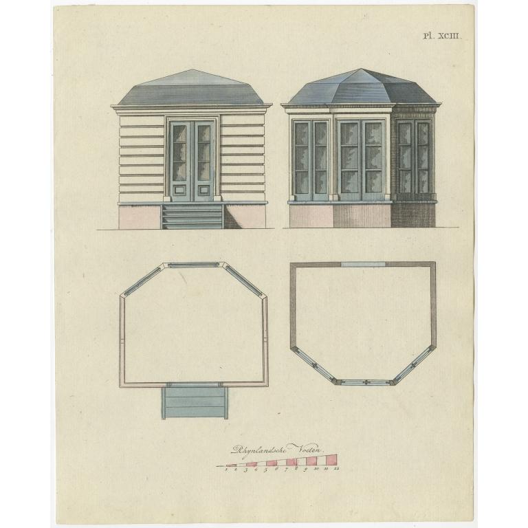 Pl. 93 Antique Print of Garden Architecture by Van Laar (1802)