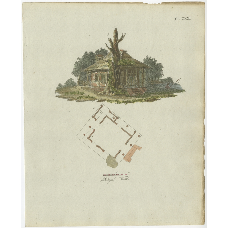 Pl. 121 Antique Print of Garden Architecture by Van Laar (1802)