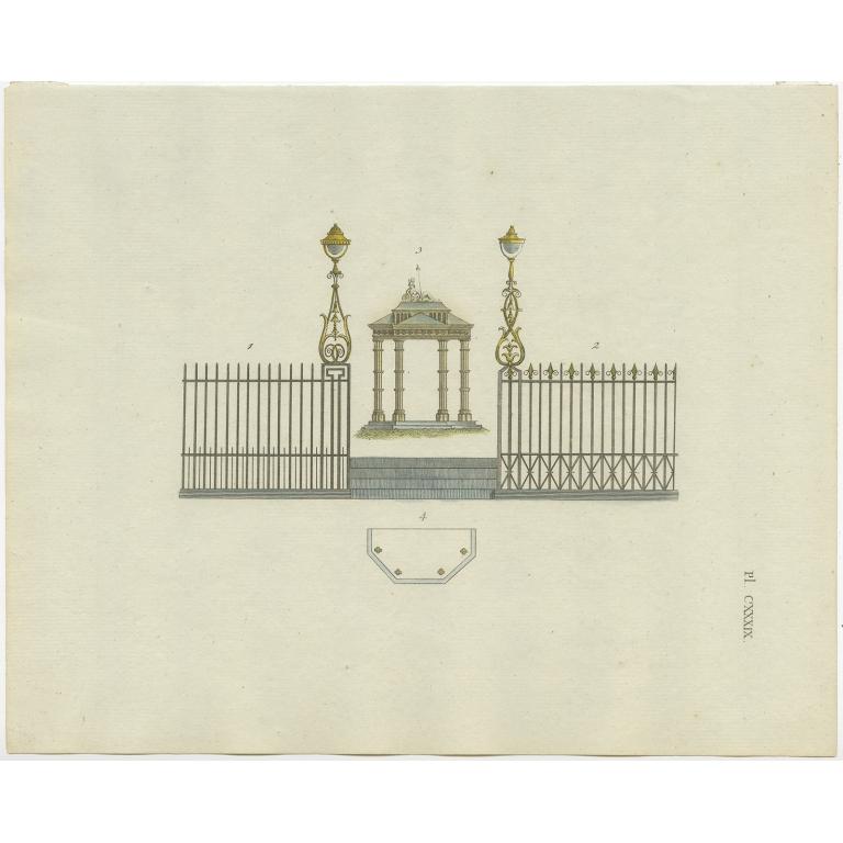 Pl. 139 Antique Print of Garden Architecture by Van Laar (1802)