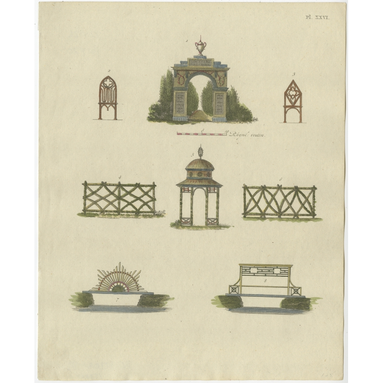 Pl. 26 Antique Print of Garden Architecture by Van Laar (1802)