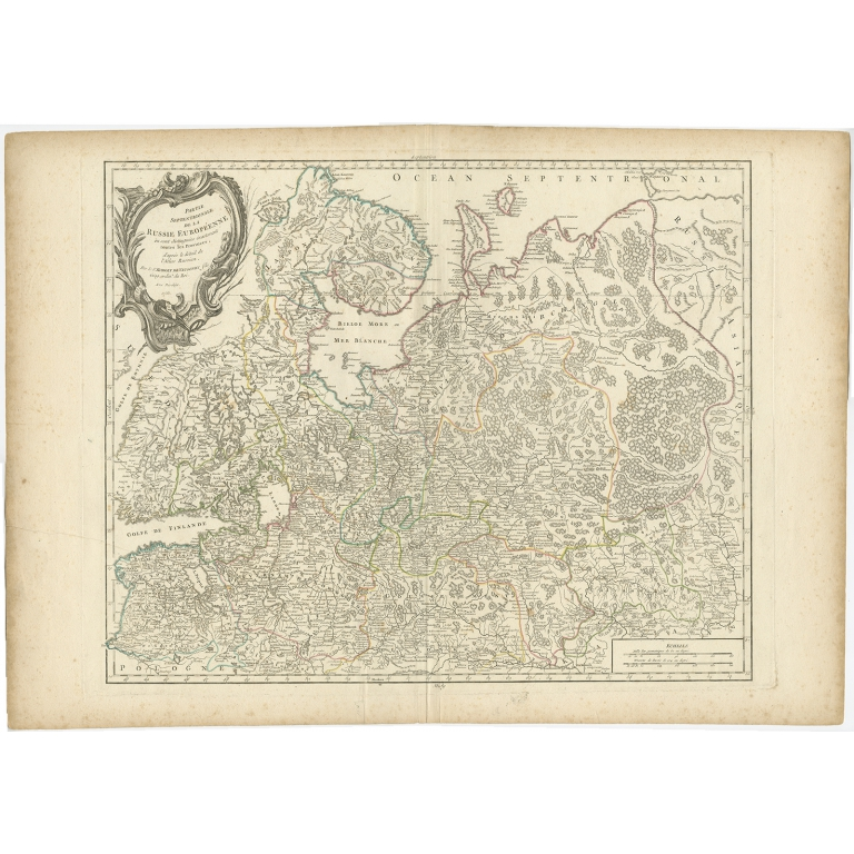 Antique Map of Russia in Europe by Vaugondy (1753)