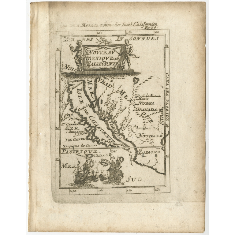 Antique Map of the Island of California by Mallet (1686)