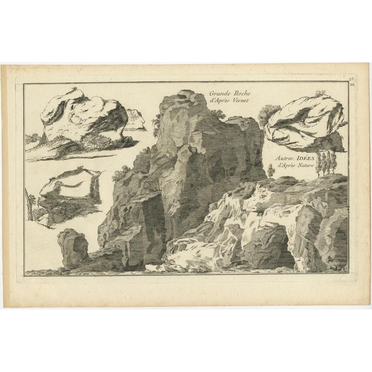 Pl. 23 Antique Print of Rock Formations by Le Rouge (c.1785)