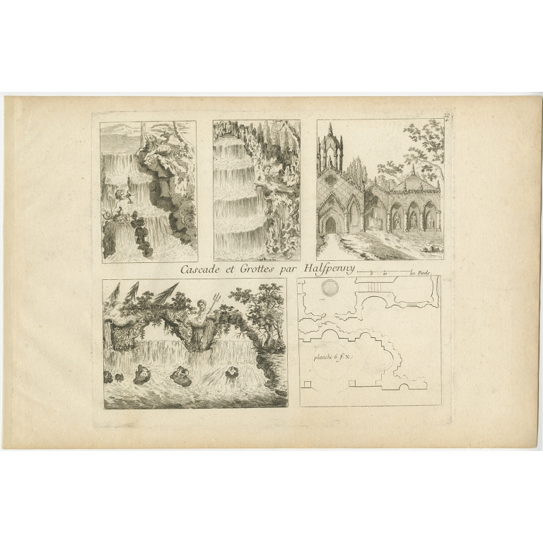 Pl. 30 Antique Print of a Cave and Waterfall by Le Rouge (c.1785)