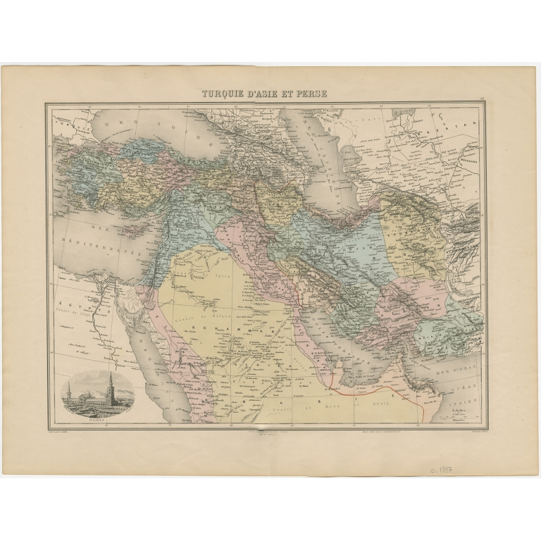 Antique Map of the Turkish Empire and Persia by Migeon (c.1890)