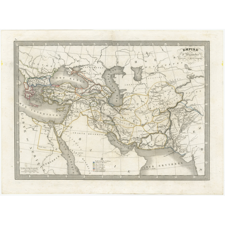 Antique Map of the empire of Alexander the Great by Monin (c.1838)
