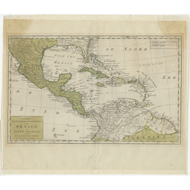 Antique Map of Mexico and the West Indies by Tirion (c.1765)