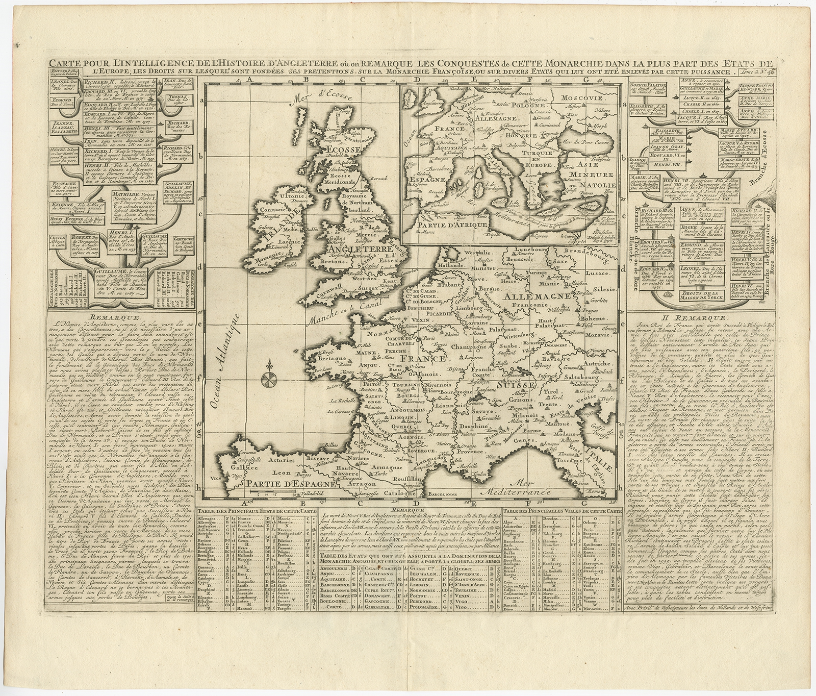 Antique Map of the British Isles and part of Europe by Chatelain