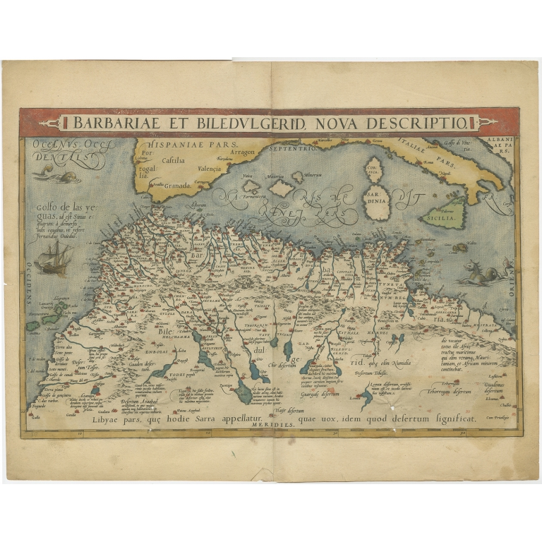 Antique Map of North Africa by Ortelius (c.1600)