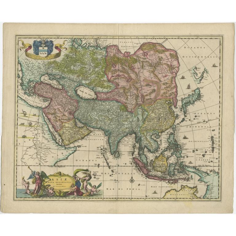 Antique Map of Asia by Visscher (c.1660)