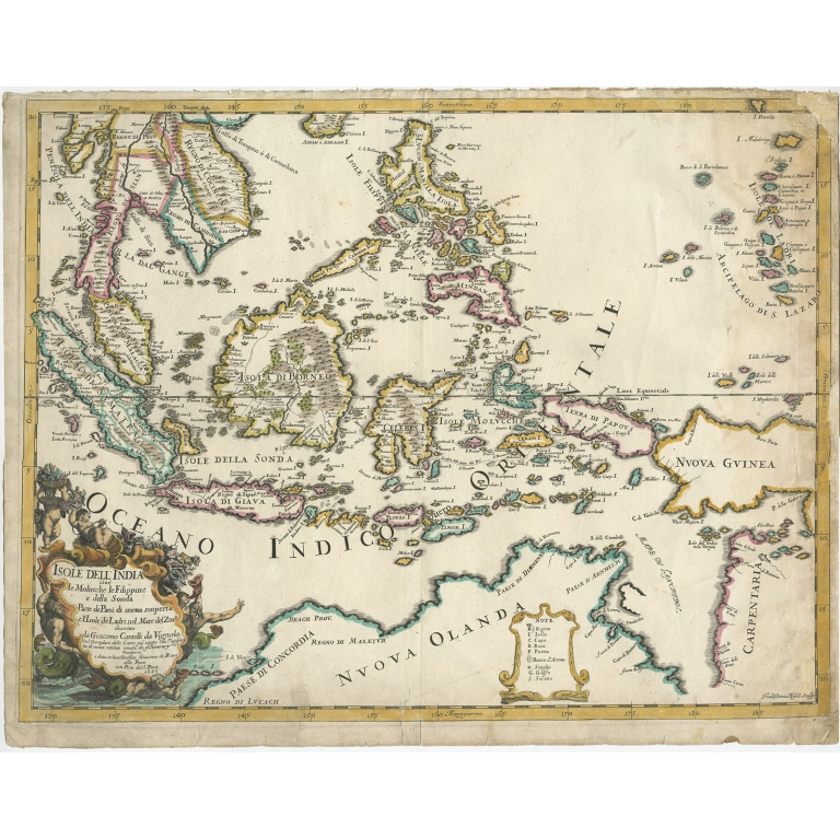Antique Map of the East Indies by Rossi (1683)