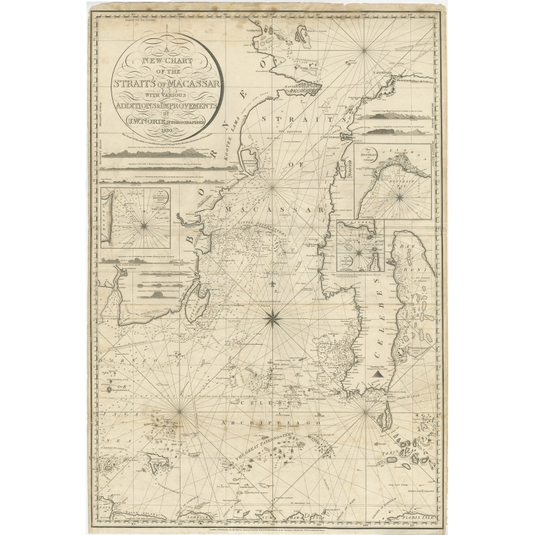 Antique Map of the Straits of Makassar by Norie (1820)