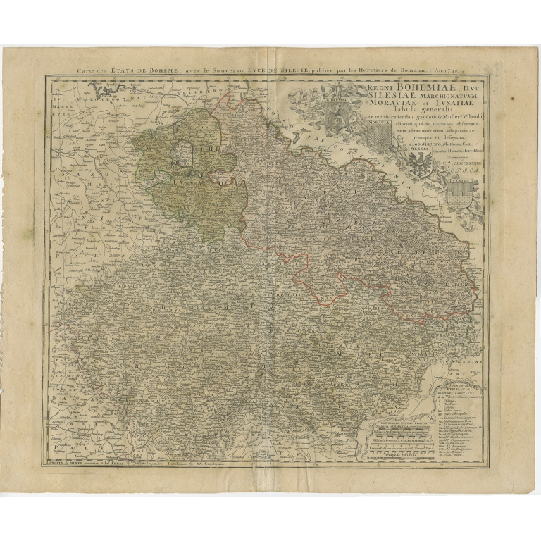 Antique Map of Bohemia by Homann Heirs (1748)