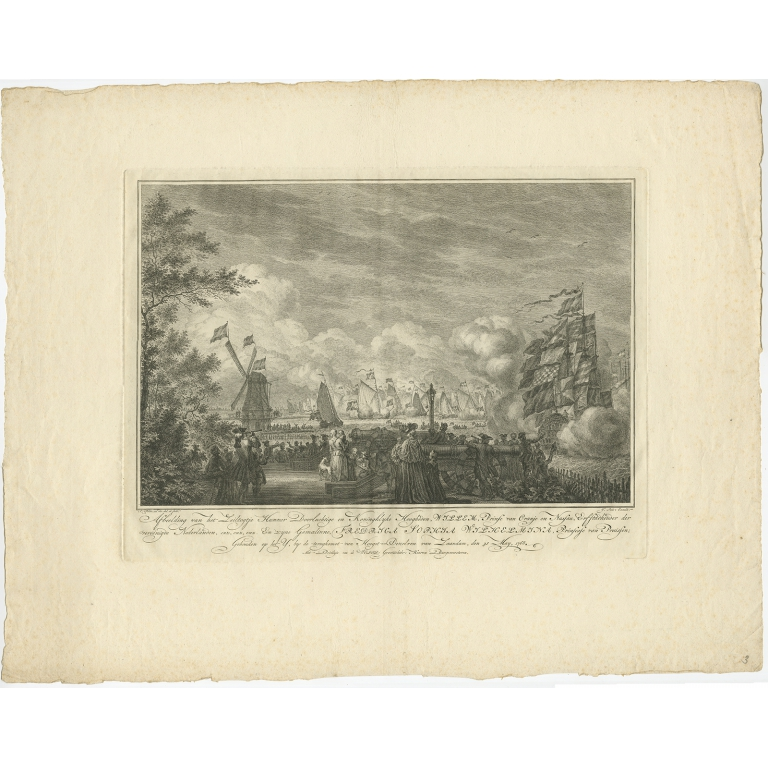 Antique Print of the Sailing Tour on the IJ River by Fokke (1768)