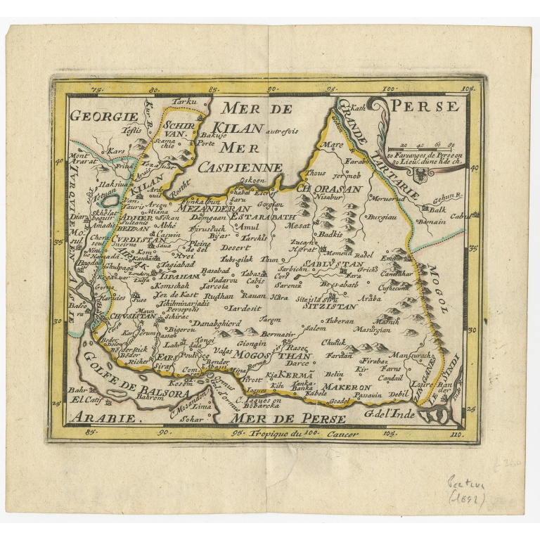 Antique Map of the Persian Empire by Peeters (1692)