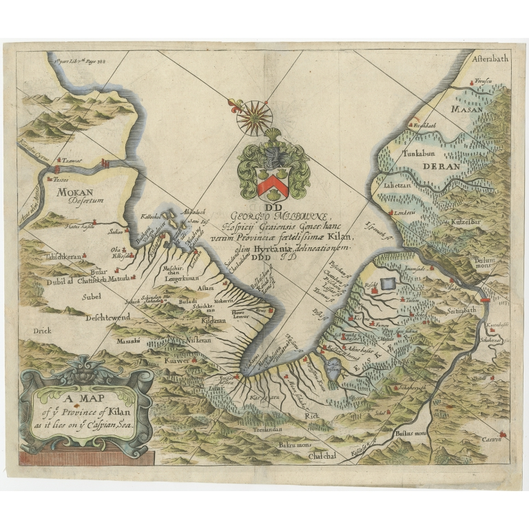 Antique Map of the Province of Kilan by Olearius (1662)