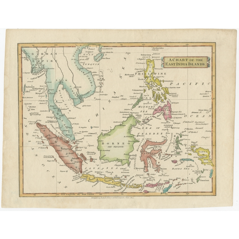Antique Map of the East Indies by Clarke (c.1820)