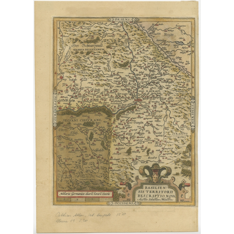 Antique Map of the Region of Basel (Switzerland) by Ortelius (c.1578)