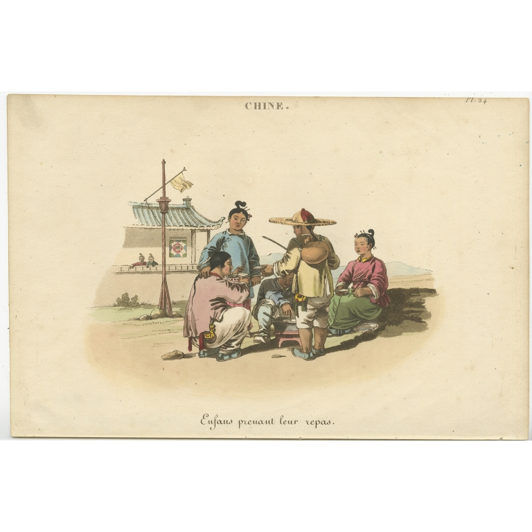 Antique Print of Chinese children having their meal (c.1820)