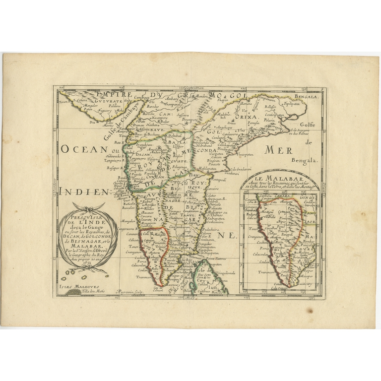 Antique Map of Southern India by Sanson (1652)
