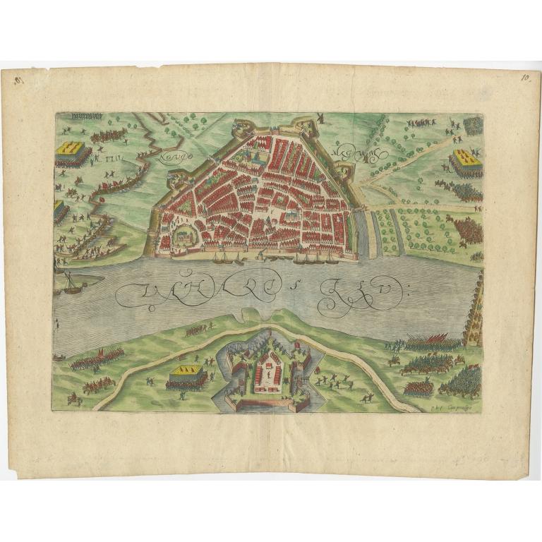 Antique Map of Nijmegen by Orlers (1615)