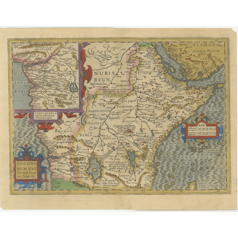 Antique Map of Central Africa by Mercator (1609)