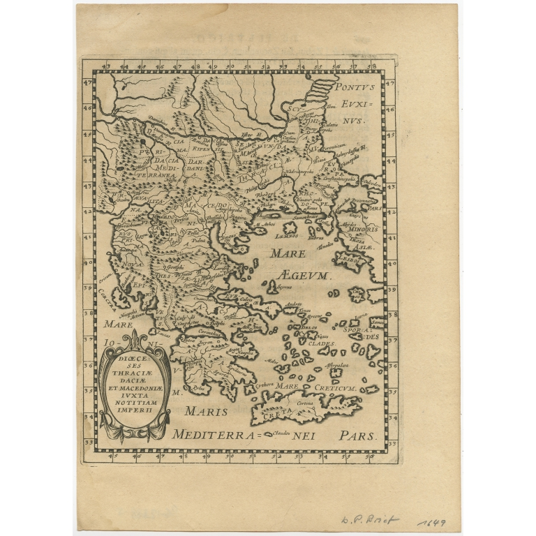 Antique Map of Greece by Brietius (1648)