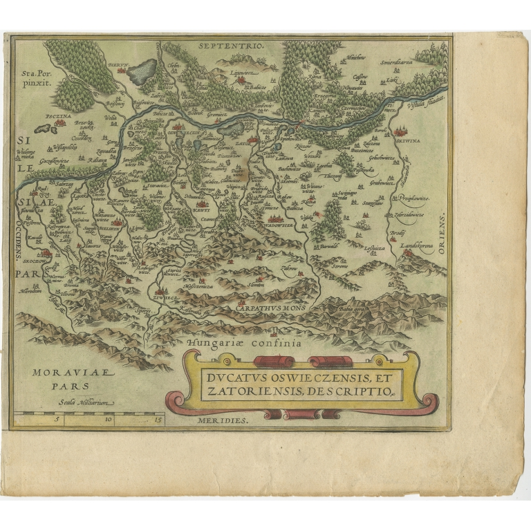 Antique Map of Southern Poland by Ortelius (c.1580)