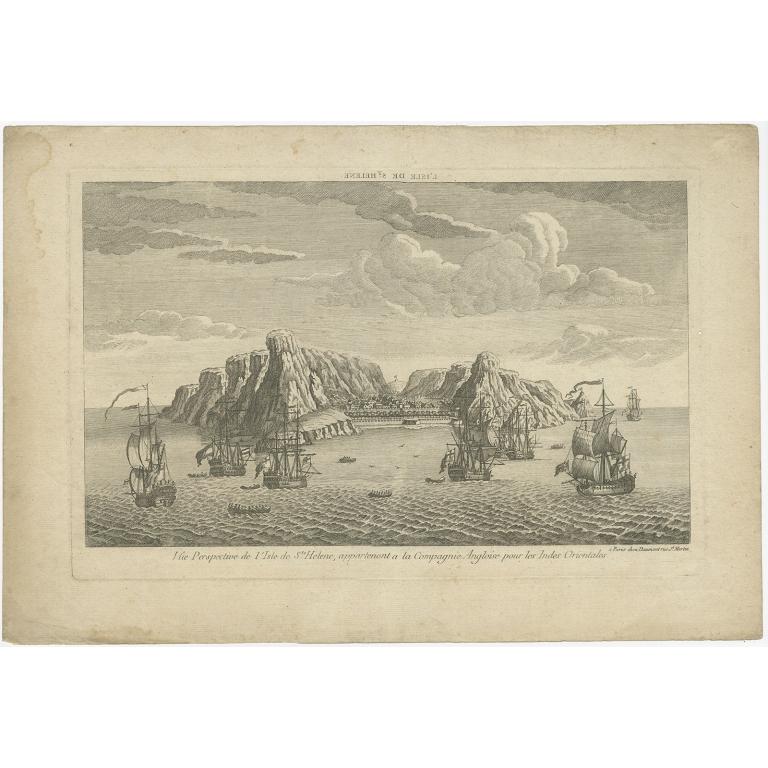 Antique Print of Saint Helena by Daumont (c.1760)