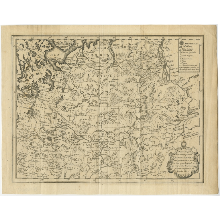 Antique Map of Part of Russia by Spyk (c.1740)