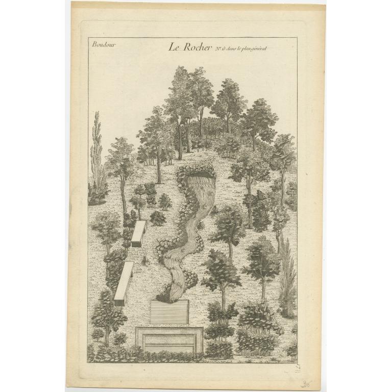 Pl. 17 Antique Print of a Rock formation by Le Rouge (c.1785)