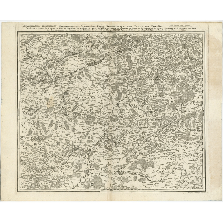Antique Map of the Region of Hainaut and Cambrésis by Reinhardt (c.1784)