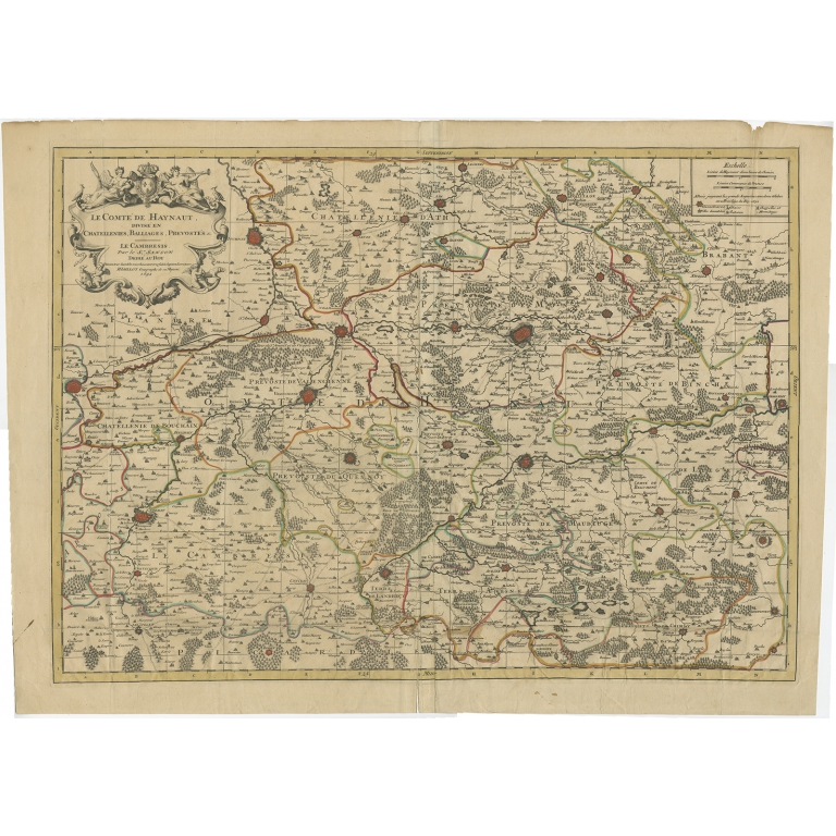 Antique Map of the County of Hainaut by Jaillot (1692)