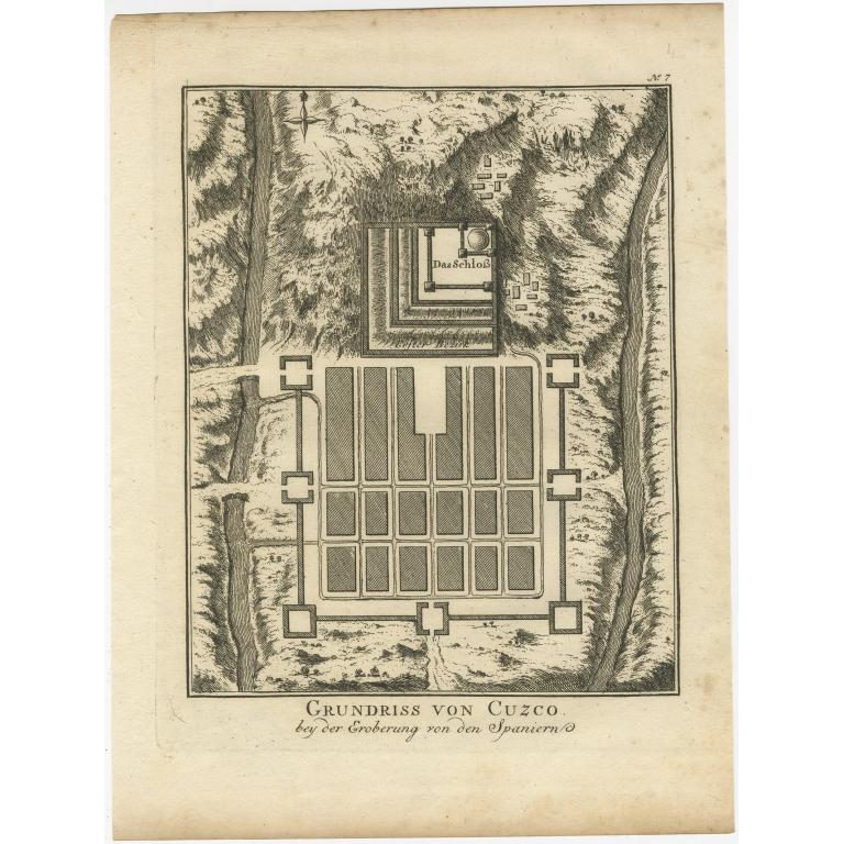 Antique Print of Cusco (c.1750)