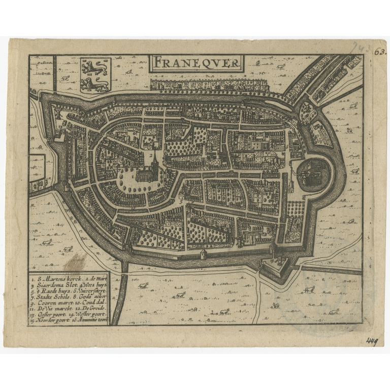 Antique Map of Franeker (c.1660)