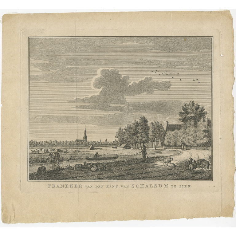 Antique Print of Franeker by Schouten (1786)