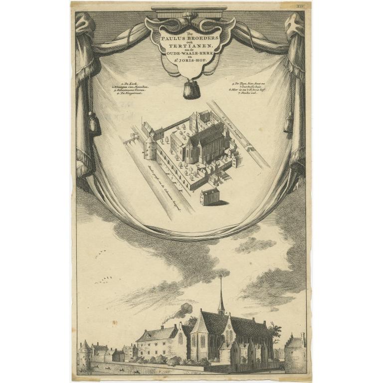 Antique Print of the Paulus Broeders monastery by Wagenaar (c.1760)