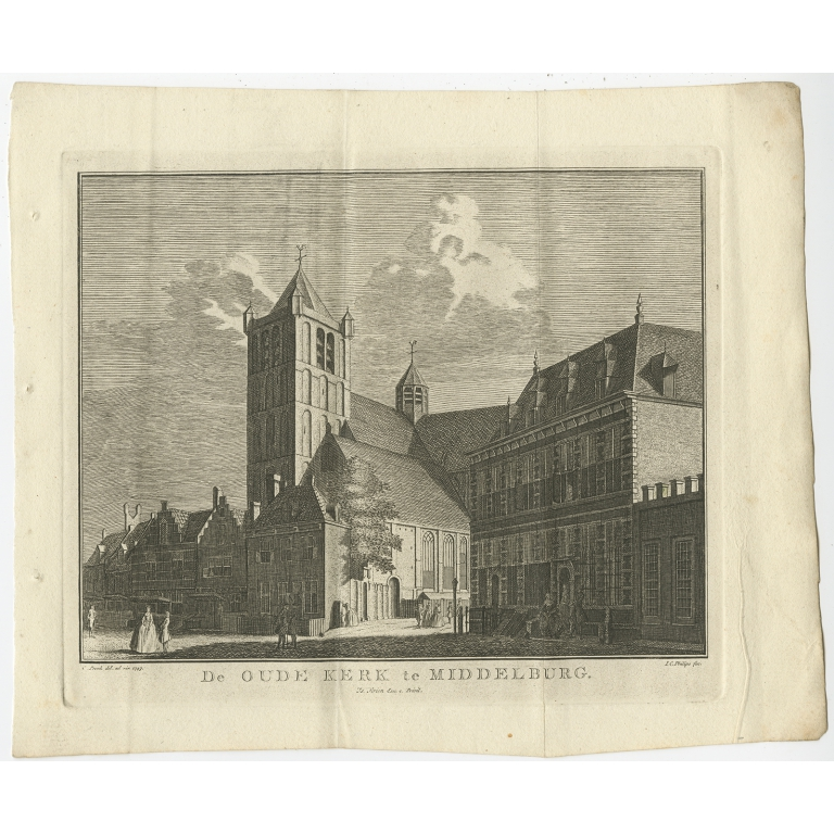 Antique Print of the Church of Middelburg by Tirion (1751)