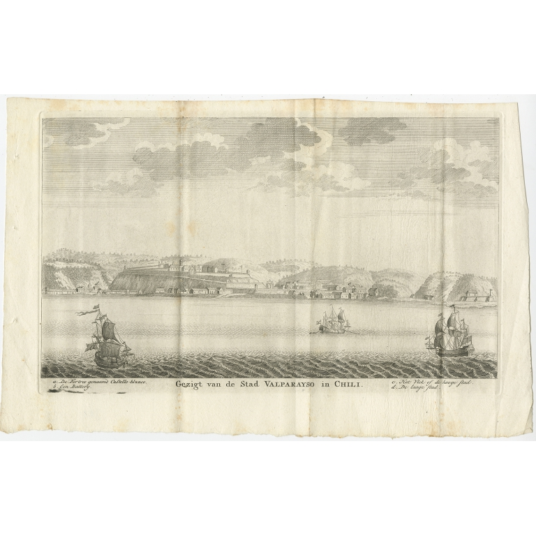 Antique Print of the City and Port of Valparaíso by Tirion (1767)
