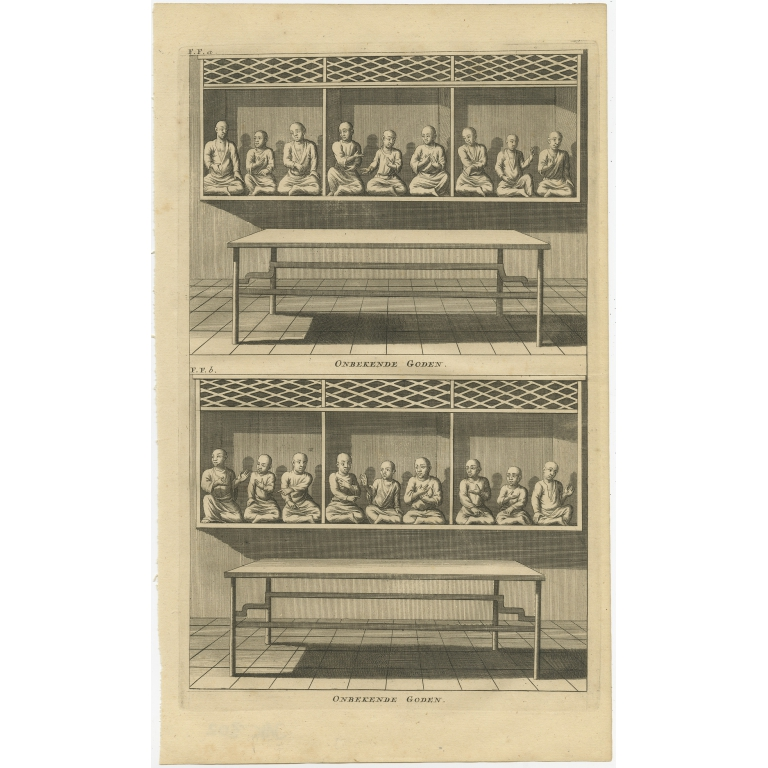 Antique Print of  various Chinese Gods by Valentijn (1726)