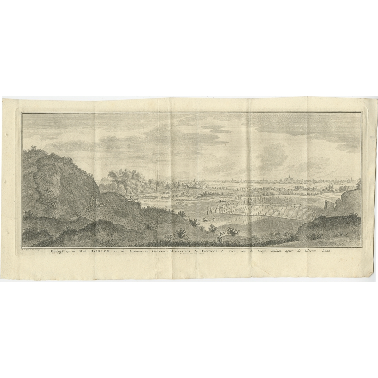 Antique Print of the City of Haarlem by Tirion (1750)