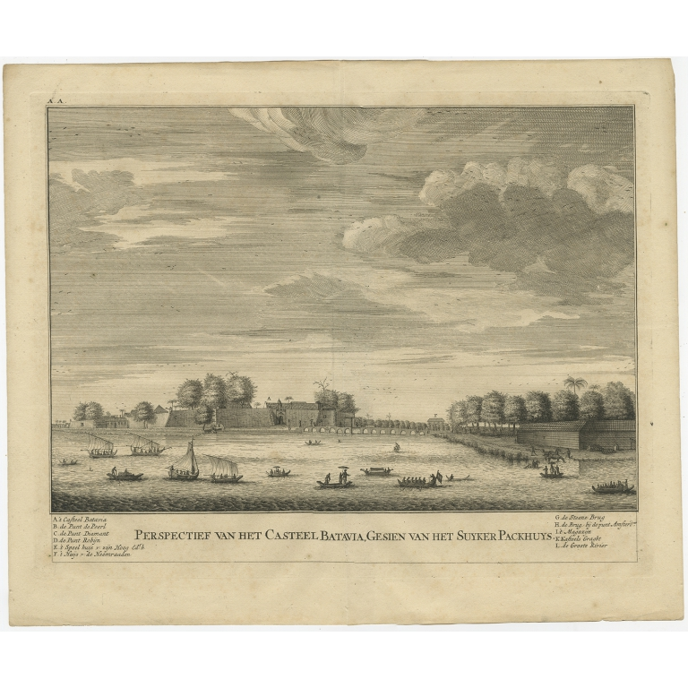 Antique Print of the Castle of Batavia by Valentijn (1726)