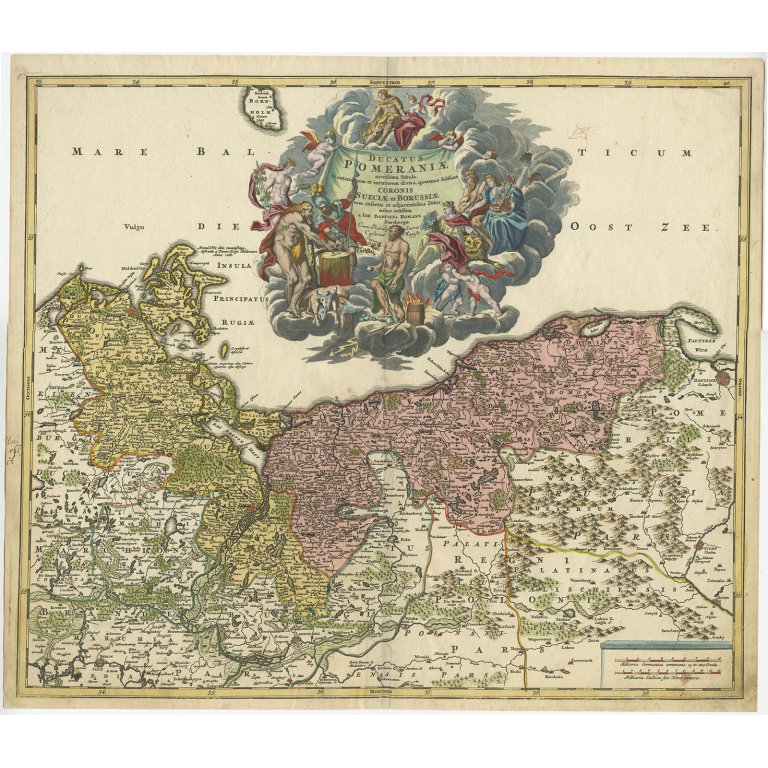 Antique Map of the Baltic region by Homann (c.1720)