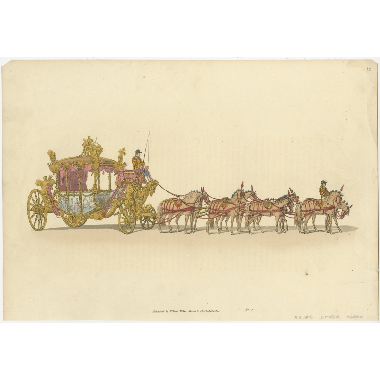 Antique Print of the State Carriage of George III by MIller (1805)